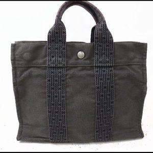 HERMES Gray HerLine Tote Bag Canvas Purse Snap Lrg